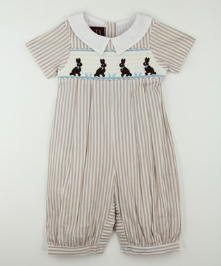 Tan Stripe Bunny Smocked Collar Playsuit - Infant