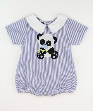 Blue Stripe Panda Collar Bubble Bodysuit - Infant