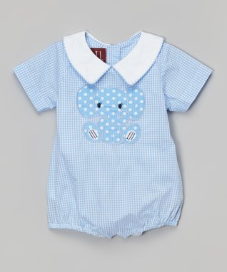 Blue Gingham Elephant Collar Bubble Bodysuit - Infant