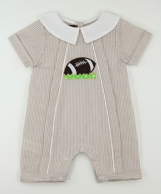 Tan Stripe Football Collar Romper - Infant