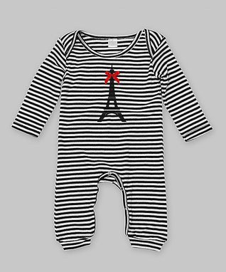 Black & White Stripe Eiffel Tower Playsuit - Infant