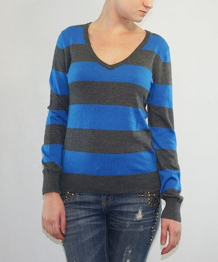 Magic Price Red & Gray Stripe V-Neck Top - Women