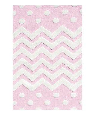 Pink Zigzag & Polka Dot Rug