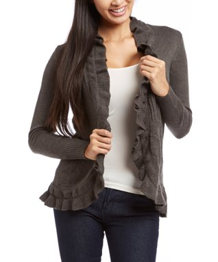 Sweater Barn Gray Ruffle Open Cardigan - Women