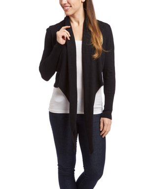Sweater Barn Black Drape Open Cardigan - Women