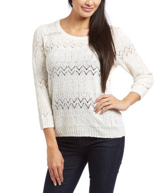 Sweater Barn Off-White Chevron Three-Quarter Sleeve Sweater - Women