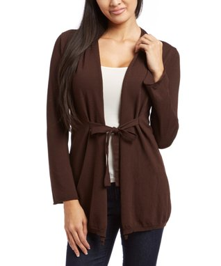 Sweater Barn Brown Tie-Front Cardigan - Women
