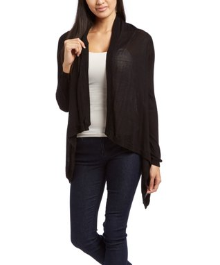 Sweater Barn Black Sidetail Open Cardigan - Women