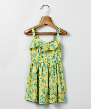 Yellow & Green Butterfly Sundress - Infant, Toddler & Girls