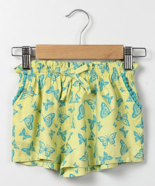 Yellow Butterfly-Print Skort - Infant, Toddler & Girls
