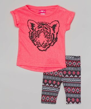 Fuchsia Burnout Tiger Tunic & Tribal Shorts - Infant & Toddler