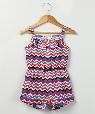 Red & Navy Chevron Romper - Infant & Toddler