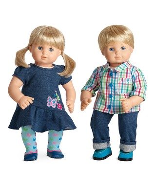 Light Skin, Blonde Hair Boy & Girl 15'' Bitty Twins Doll Set