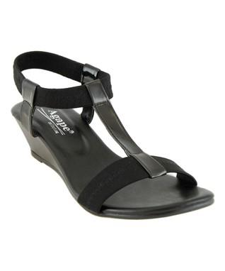 Agape Black Image T-Strap Sandal