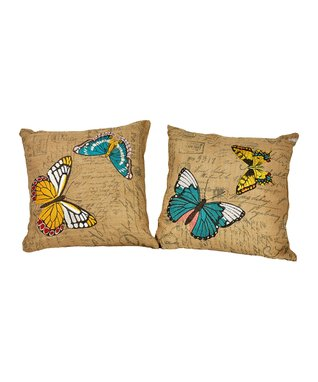 Butterfly Burlap Pillow Set