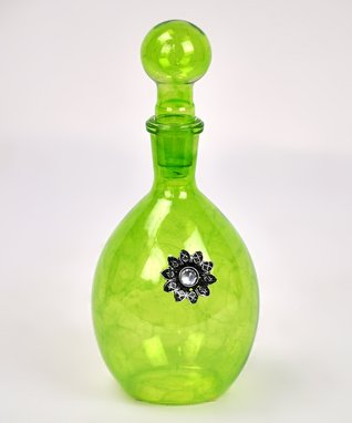 Green Flower Glass Bottle