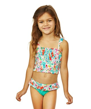 Aqua Flowers Summer Lovin Bikini - Girls