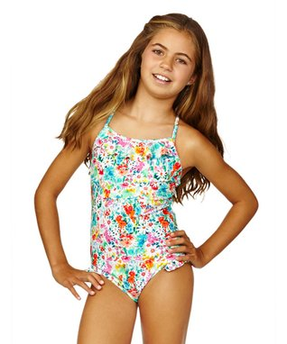 Blue & Pink Sweet Heart Tank Swimsuit - Girls