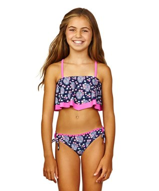 Wavy Navy & Hot Pink Be Free Bikini - Girls