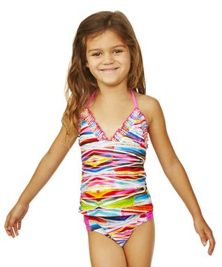 Pink & Yellow Pacific Palisades Tankini - Girls