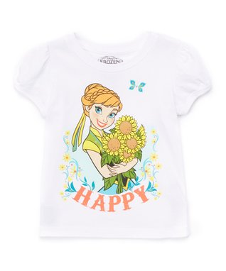 White 'Happy' Frozen Cap-Sleeve Tee - Toddler & Girls