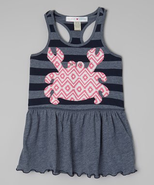 Charcoal Geometric Crab Tank Dress - Infant, Toddler & Girls