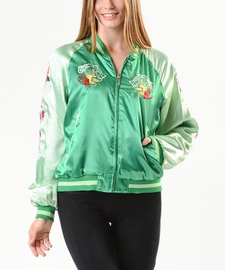 BABA JOON Green Dragon-Embroidered Reversible Jacket - Women