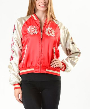 BABA JOON Red Floral Dragon-Embroidered Reversible Jacket - Women