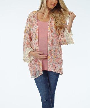 PinkBlush Lavender & Gray Stripe Maternity V-Neck Tee - Women