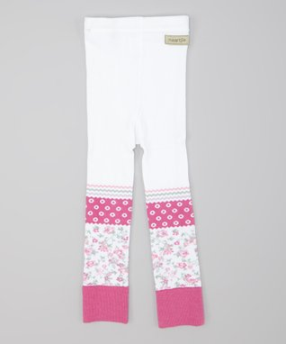 White & Super Pink Flower Seed Spot Leggings - Toddler & Girls