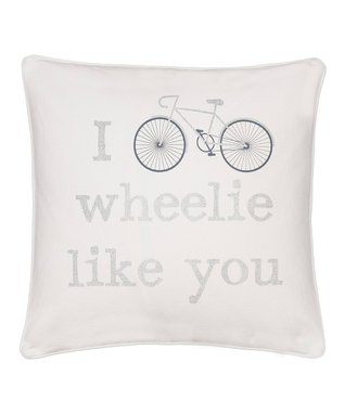 Gray Towel-Stitch Mockingbird Throw Pillow