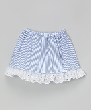Blue & White Seersucker Lace Skirt - Infant & Toddler