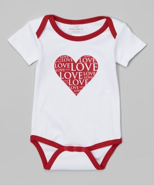 Red & White l'Amour Organic Romper - Infant
