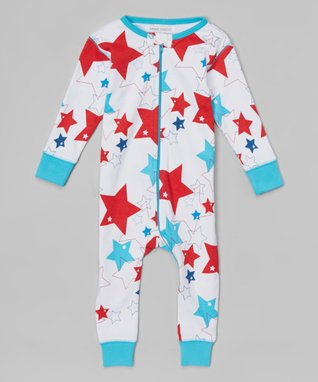 Blue & Red Fireworks Organic Playsuit - Infant