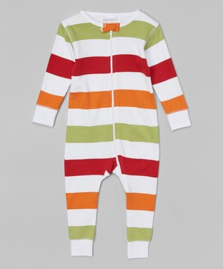 Green & Maroon Stripe Organic Playsuit - Infant