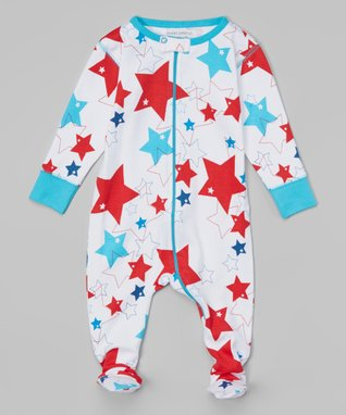 Blue & Red Fireworks Organic Footie - Infant