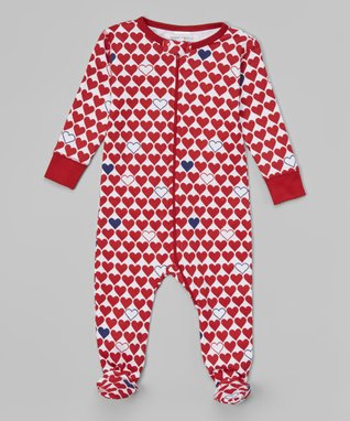 Red & White l'Amour Organic Footie - Infant