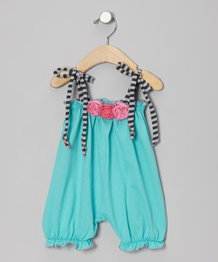 Turquoise Rosette Bubble Romper - Infant & Toddler