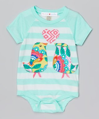 Teal & White Stripe Love Birds Bodysuit - Infant