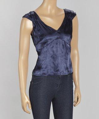 Papillon Imports Blue V-Neck Cap-Sleeve Top