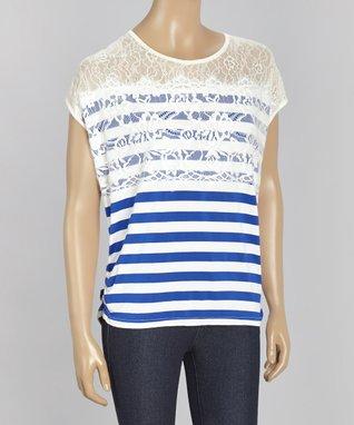 Papillon Imports White & Navy Stripe Lace Dolman Top
