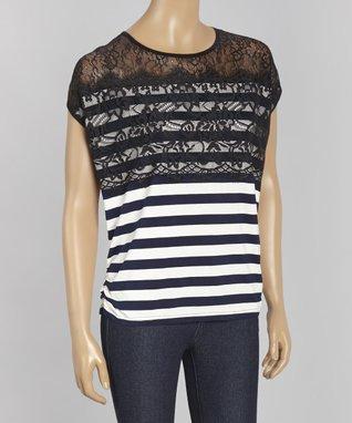 Papillon Imports Black & White Stripe Lace Dolman Top