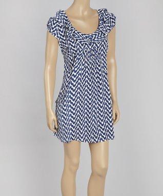 Papillon Imports Blue & Cream Zigzag Pouch-Pocket Shift Dress