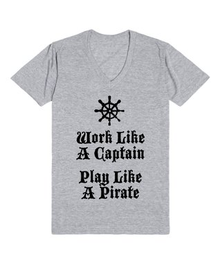 Skreened Heather Gray 'Play Like a Pirate' V-Neck Tee