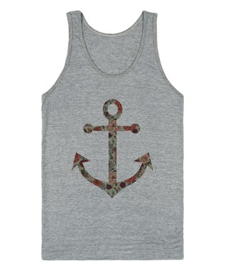 Skreened Heather Gray Floral Anchor Tank
