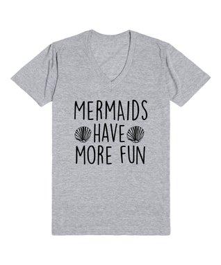 Skreened Heather Gray 'Mermaids' V-Neck Tee