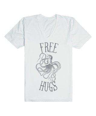 Skreened White 'Free Hugs' V-Neck Tee