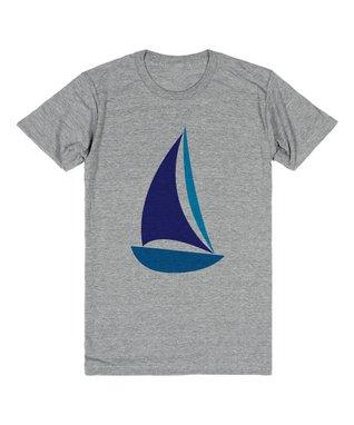 Skreened Heather Gray & Blue Sailboat Tee