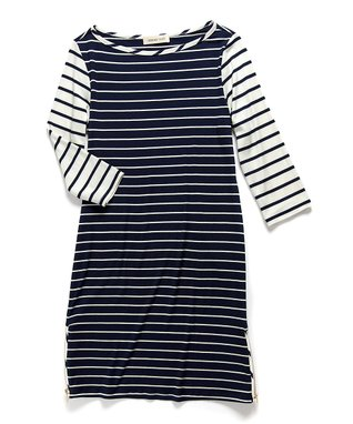 Amour Vert Ivory & Navy Stripe Erin Three-Quarter Sleeve Dress
