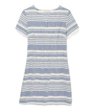 Amour Vert Blue Stripe Janelle Organic V-Neck Dress